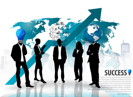 company building: Business people silhouettes with building background. Vector illustration.