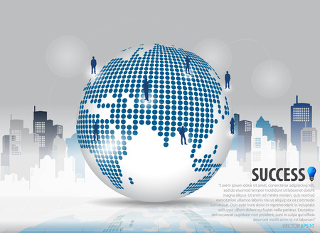 Dotted globe with businessman and building background. Vector illustration. Illustration