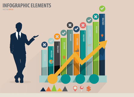 Infographic design template - modern design graph with infographics elements, can use for business concept, vector illustration Vector