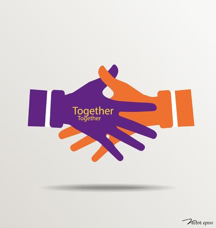 Handshake, Teamwork Hands . Vector illustration.