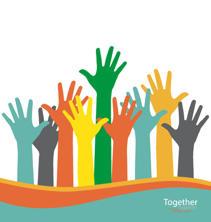 helping up: Colorful raised hands. Vector illustration.