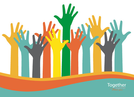 community people: Colorful raised hands. Vector illustration.