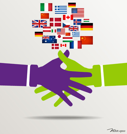 Handshake, Teamwork Hands with flags background. Vector illustration. Vector