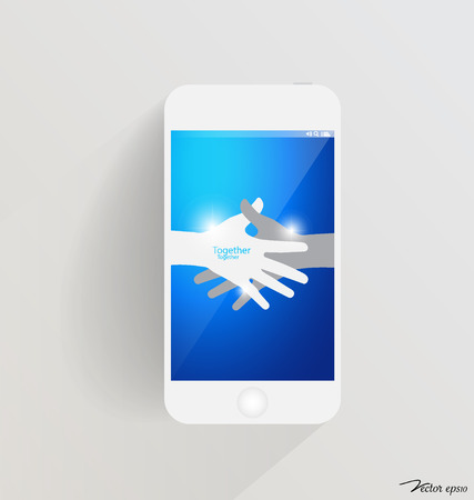 Modern touchscreen device with hands. Vector illustration. Vector