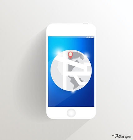 Modern touchscreen device with map icon. Vector illustration. Vector
