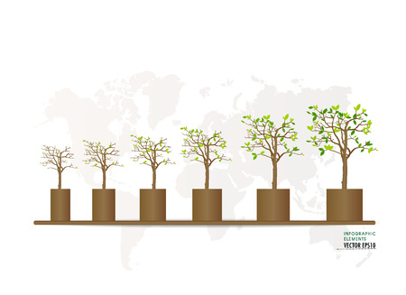 Green economy concept : Graph of growing sustainable environment with business. Vector illustration. Vector