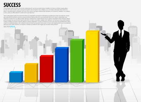 Businessman showing graph over building background. Vector illustration. Vector