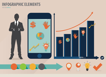 infographics touchscreen: Infographic design template - businessman showing touchscreen device with colorful infographics paper template, vector illustration