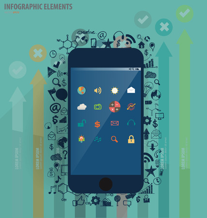 Touchscreen device with application icon and graph. Vector illustration. Vector