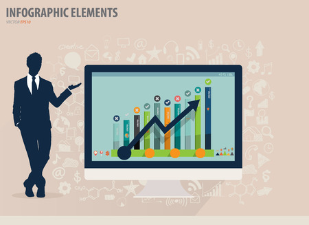 Infographic design template - Businessman showing modern computer with business icons and signs, vector illustration Vector