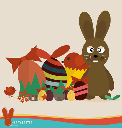 Happy easter cards with easter eggs, cute rabbit, ribbon. Concept holiday spring cartoon collection. Vector illustration. Vector