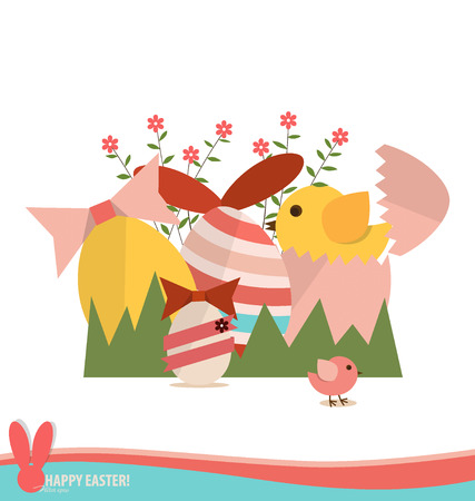 Happy easter cards with easter eggs, ribbon. Concept holiday spring cartoon collection. Vector illustration. Vector