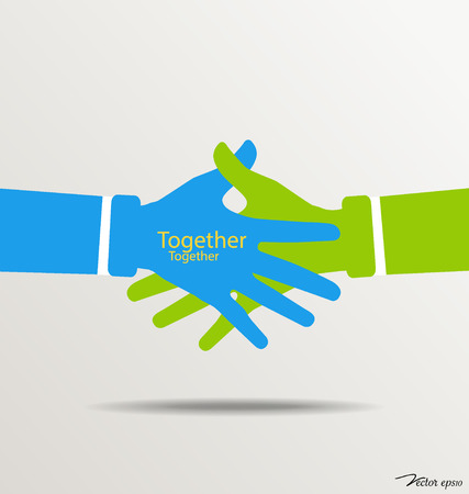 Handshake, Teamwork Hands . Vector illustration. Vector