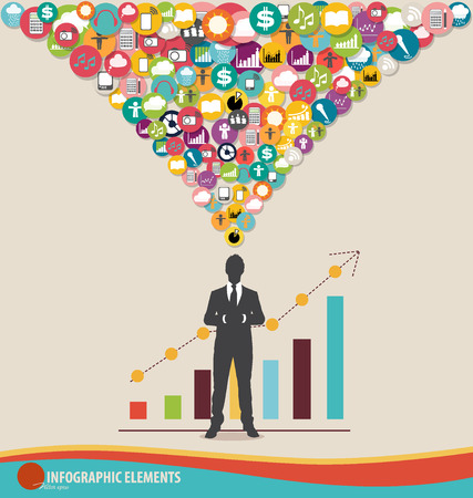 participacion: Plantilla de dise�o Infograf�a - hombre de negocios con aplicaciones de colores, gr�fico e infograf�a plantilla, ilustraci�n vectorial Vectores