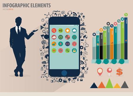 infographics touchscreen: Vector illustration of businessman showing touchscreen device with colorful infographics paper template. Illustration
