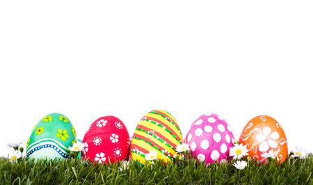 Easter Eggs on Fresh Green Grass over white background photo