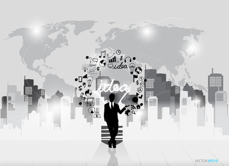 Business people silhouettes and light bulb as inspiration concept with drawing chart and graphs business strategy Vector