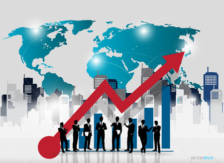 Business people silhouettes with graph and building background. Vector illustration. Vector