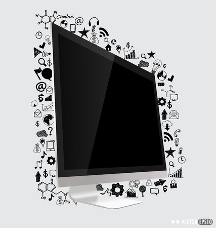Computer display with application  Vector