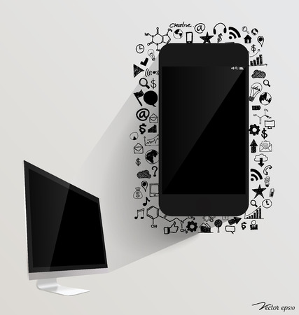 Computer display and Touchscreen device with application icon. Vector