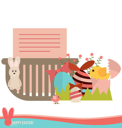 Note paper in basket with easter eggs and flower. Vector illustration. Vector