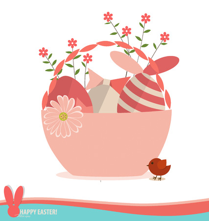 Basket with easter eggs and flower.  Vector