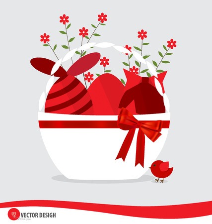 Basket with easter eggs and flower. Vector illustration. Vector