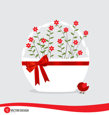 bast basket: Basket with flowers.