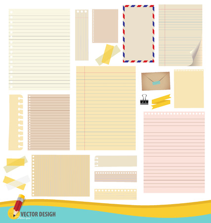 Collection of various note papers, ready for your message illustration. Vector