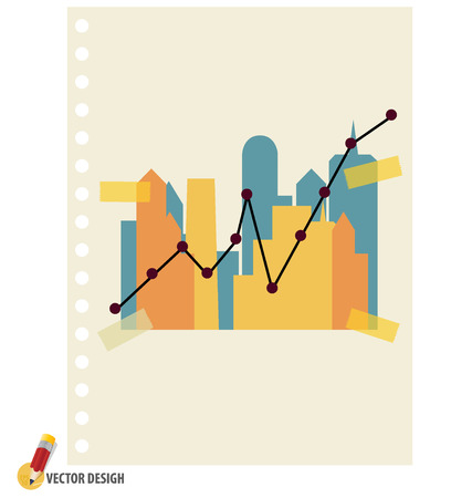 Abstract building with graph illustration. Vector