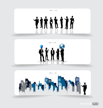 businessman shoes: Business people silhouettes on note papers illustration. Illustration