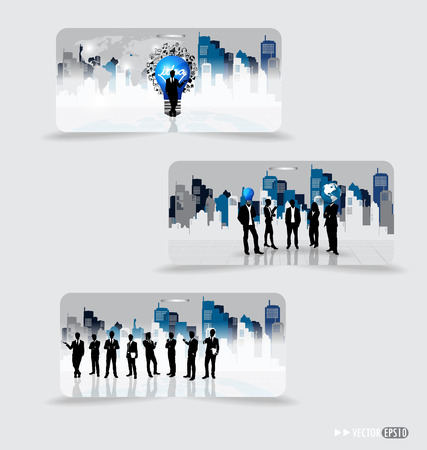 Business people silhouettes with building background on note papers illustration. Vector
