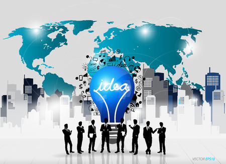 Business people silhouettes and light bulb as inspiration concept with drawing chart and graphs business strategy plan concept idea (building background), vector illustration Vector