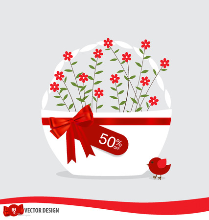 Basket with flowers and sale tags. Vector illustration. Vector