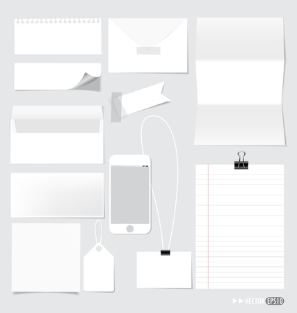 Collection of various note papers, ready for your message. Vector illustration. Vector