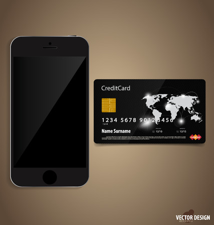 Touchscreen device with credit card.  Vector