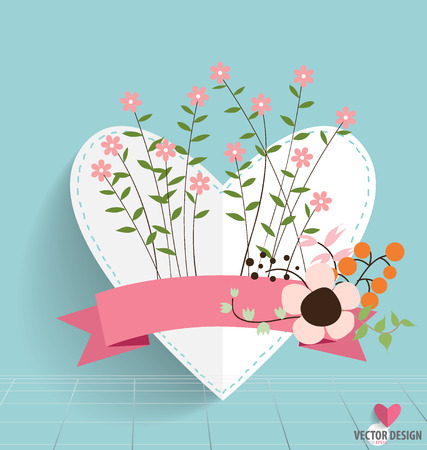 Heart paper with floral bouquets and ribbon Illustration