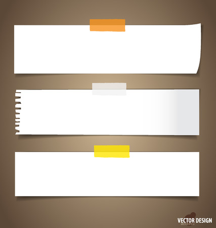 Collection of various note papers, ready for your message.  Vector