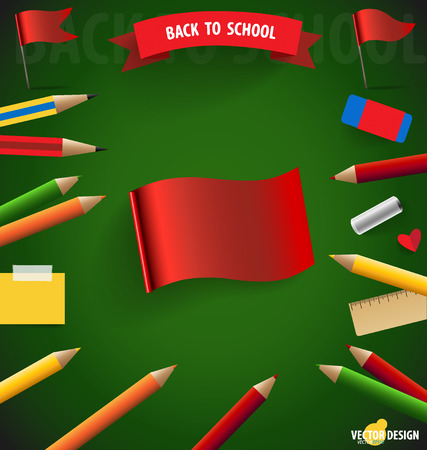 Welcome back to school with Red Flag Vector