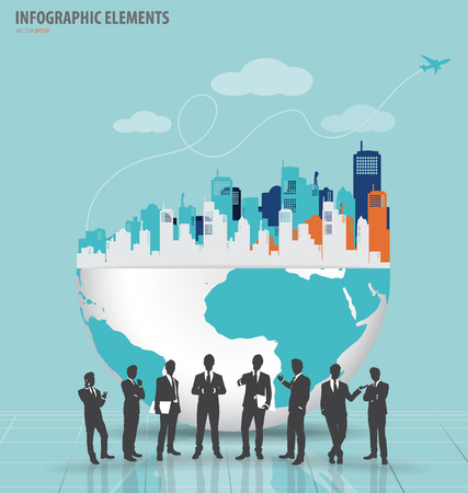 real people: Business people silhouettes with city and modern design globe.