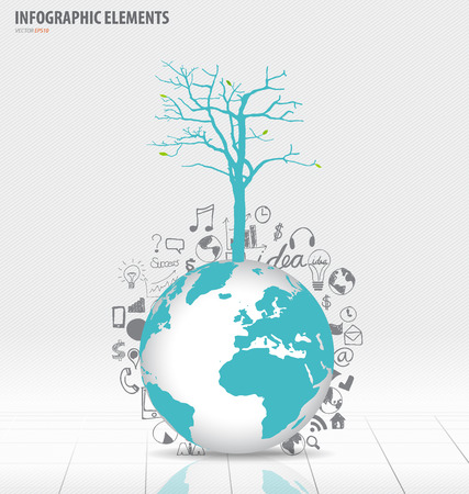Tree on modern world globe with application icon, modern template design.  Vector