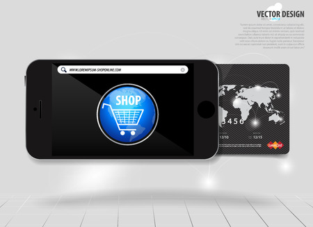 Touchscreen device with credit card, electronic payments concept.  Vector
