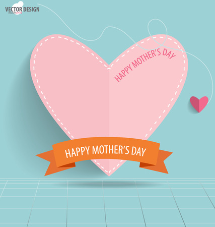 Happy Motherss Day, paper hearts.  Vector