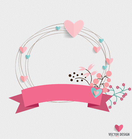 sweet background: Floral bouquets with ribbon and heart