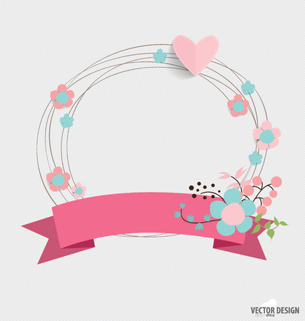 happy anniversary: Floral bouquets with ribbon Illustration