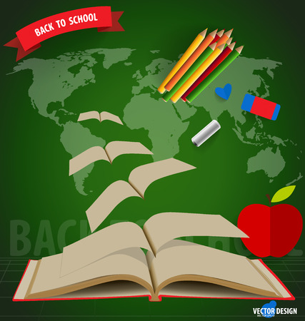 Welcome back to school, Opened flying books. Vector illustration. Vector