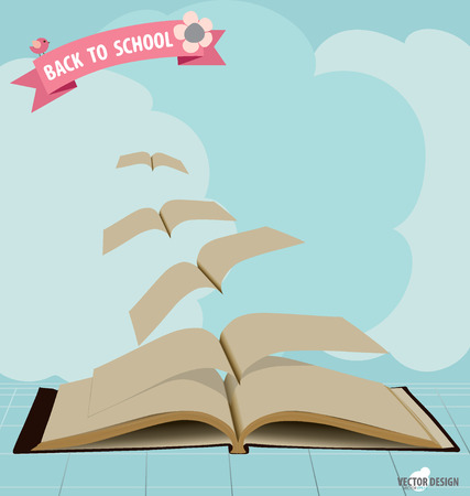 Opened flying books and ribbon. Vector illustration. Illustration