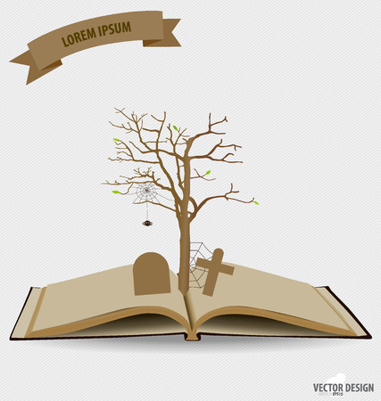 Tree on opened book. Vector illustration. Illustration