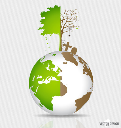 Save the world, Tree on a deforested globe and green globe. Vector illustration.