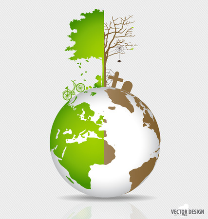 deforested: Save the world, Tree on a deforested globe and green globe. Vector illustration.